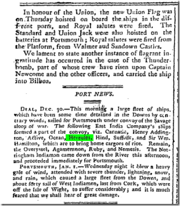 Bell's Weekly Messenger (London, England), Sunday, January 4, 1801; Issue 245.