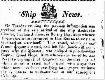 archduke charles sydney gazette 12 feb 1813