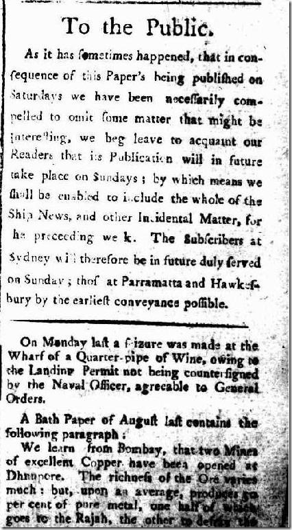 The Sydney Gazette and New South Wales Advertiser, Saturday 2 April 1803, page article625496-3-001