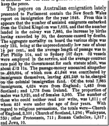 1848 EMIGRATION Trewman's Exeter Flying Post or Plymouth and Cornish Advertiser (Exeter, England), Thursday, May 2, 1850