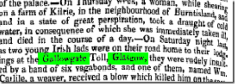 GALLOWGATE2he Newcastle Courant etc (Newcastle-upon-Tyne, England), Saturday, September 10, 1831; Issue 8172.