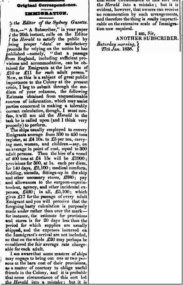 1 EMIGRATION article2550109-3-001The Sydney Gazette and New South Wales Advertiser, Tuesday 30 January 1838, page 3