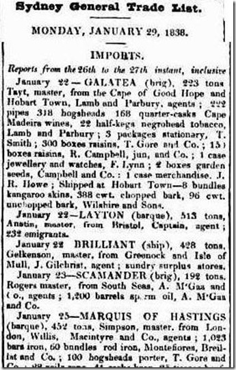 brilliant article2550113-3-001The Sydney Gazette and New South Wales Advertiser, Tuesday 30 January 1838, page 3