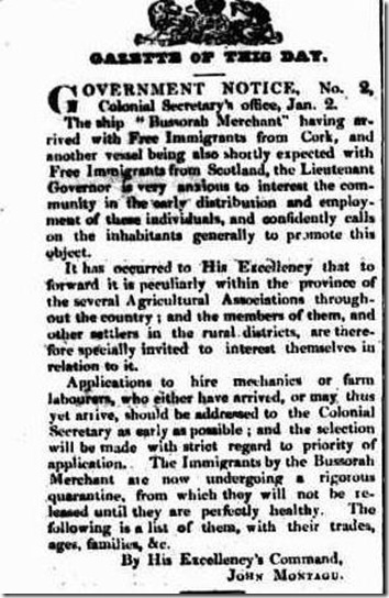 BUNMORAH article4167785-3-001The Hobart Town Courier, Friday 5 January 1838, page 2