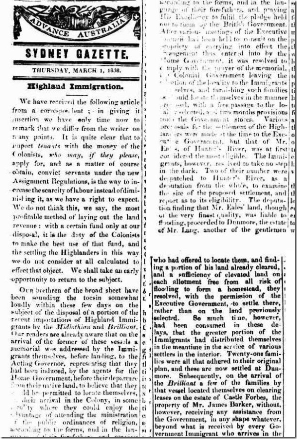 EMIGRATION 1838 1 article2550005-3-001The Sydney Gazette and New South Wales Advertiser, Thursday 1 March 1838, page 2