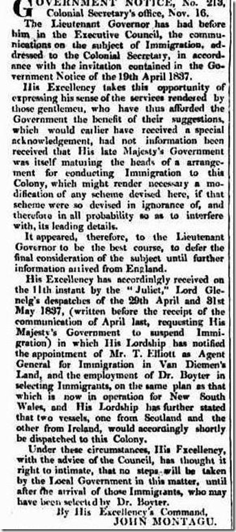 immigration article4168774-3-001The Hobart Town Courier, Friday 17 November 1837, page 2