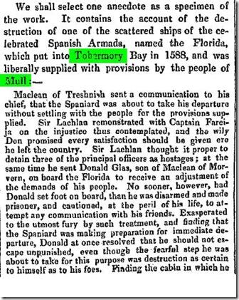 TOBERMORY 1588Caledonian Mercury (Edinburgh, Scotland), Monday, May 7, 1838; Issue 18419.