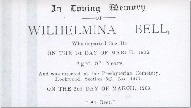Wilhelmina memoriam card 2