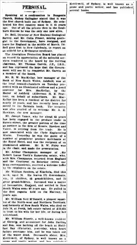 william obit smhThe Sydney Morning Herald  Friday 23 December 1910, page 6