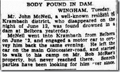 DROWN JON MCNEIL The Sydney Morning Herald (NSW  1842 - 1954), Wednesday 25 June 1930