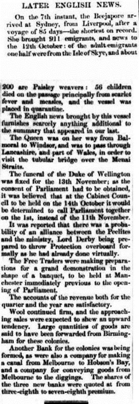 arrival Launceston Examiner (Tas.  1842 - 1899), Thursday 20 January 1853,