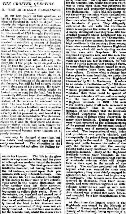 CLEARANCE CROFTERS The Inquirer & Commercial News (Perth, WA  1855 - 1901), Wednesday 6 July 1887