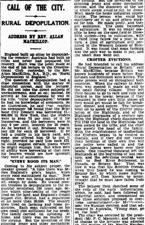 every rood has its man The Brisbane Courier (Qld. 1864 - 1933), Friday 6 June 1930,