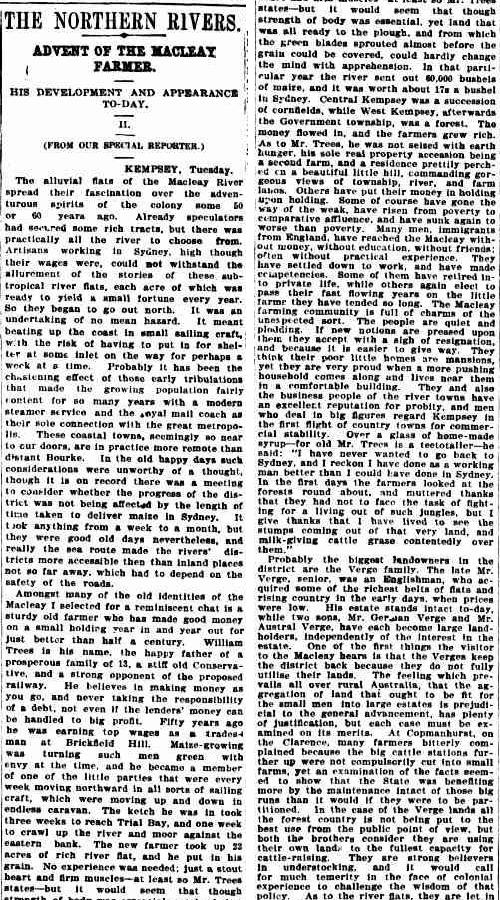 land on macleayThe Sydney Morning Herald Wednesday 24 January 1906, page 10
