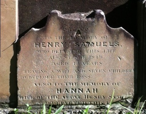 GRAVESTONE   OF HENRY SAMUELS AND HANNAH HITCHENS